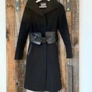 Mackage coat with leather belt.
